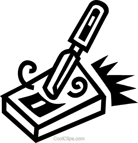 chisel and a block of wood Royalty Free Vector Clip Art illustration vc043483