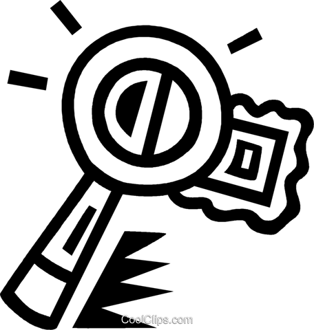 magnifying glass and postage stamp Royalty Free Vector Clip Art illustration vc043487