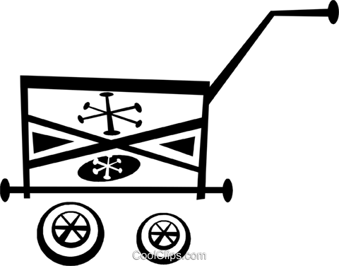 hand cart Royalty Free Vector Clip Art illustration vc043313