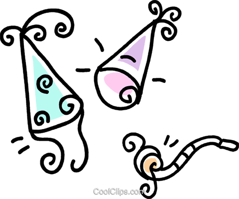 party hats and noise makers Royalty Free Vector Clip Art illustration vc043696