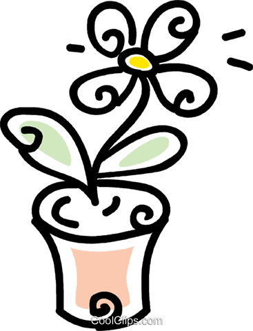 potted flower Royalty Free Vector Clip Art illustration vc043714