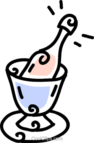 ice bucket and champagne bottle Royalty Free Vector Clip Art illustration vc043726