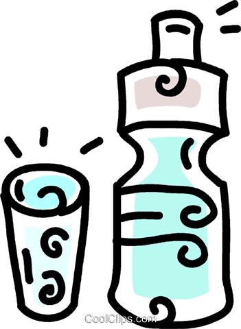 bottled water and glass Royalty Free Vector Clip Art illustration vc043809