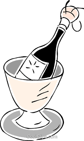 champagne in an ice bucket Royalty Free Vector Clip Art illustration vc043827