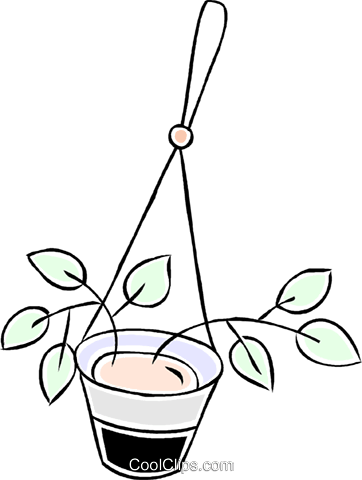 hanging plant Royalty Free Vector Clip Art illustration vc043908