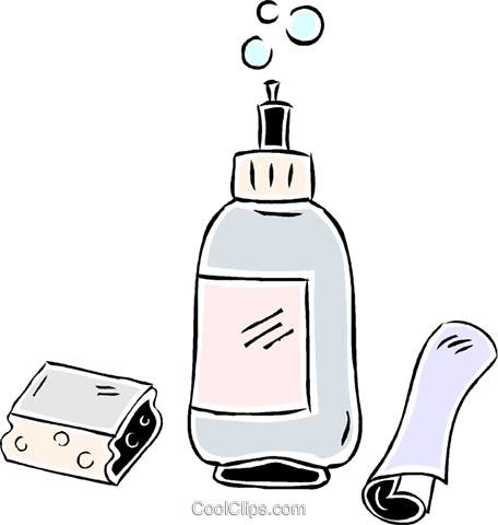 liquid soap with washcloth Royalty Free Vector Clip Art illustration vc043921