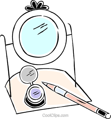makeup mirror with brush and makeup Royalty Free Vector Clip Art illustration vc043933