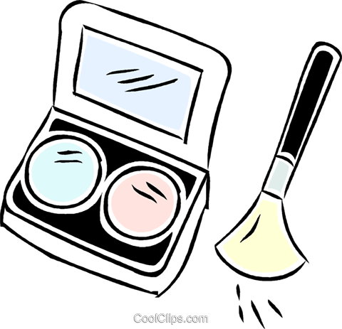 cosmetics with makeup brush Royalty Free Vector Clip Art illustration vc043936
