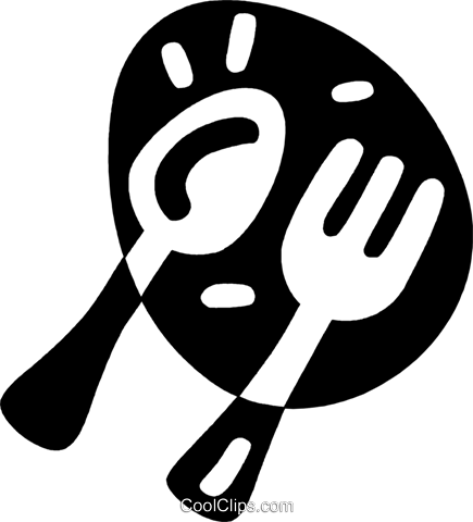 spoon and fork Royalty Free Vector Clip Art illustration vc043950