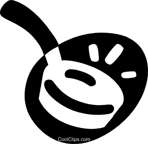 frying pan Royalty Free Vector Clip Art illustration vc043982