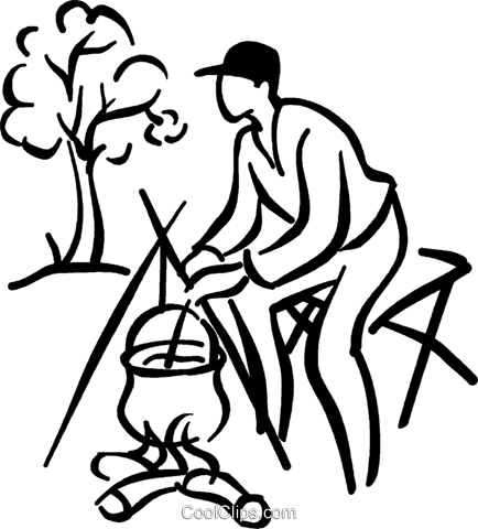 Man Cooking At A Camp Fire Royalty Free Vector Clip Art Illustration