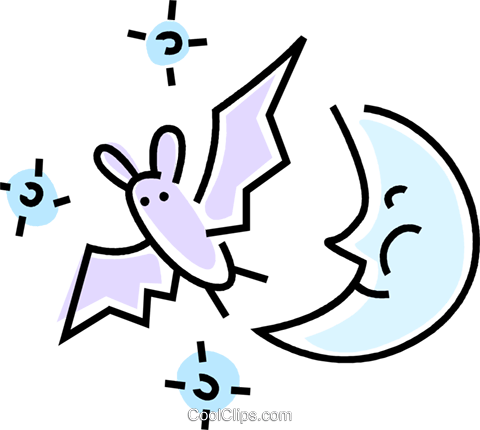bat and the moon Royalty Free Vector Clip Art illustration vc045773