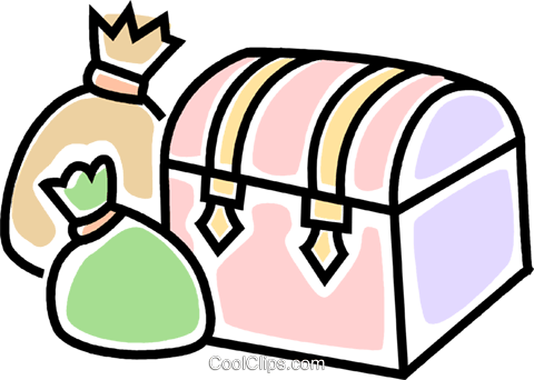 treasure chest Royalty Free Vector Clip Art illustration vc045784