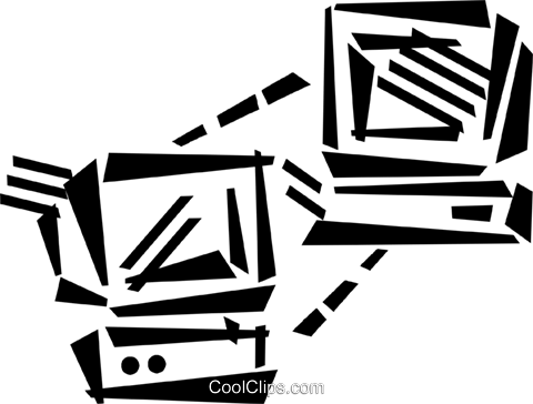 networked computers Royalty Free Vector Clip Art illustration vc045995