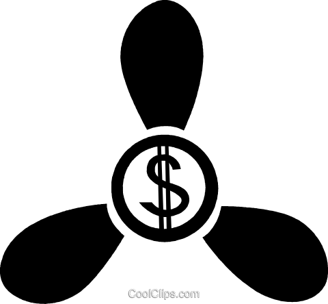 dollar sign fan Royalty Free Vector Clip Art illustration vc047360