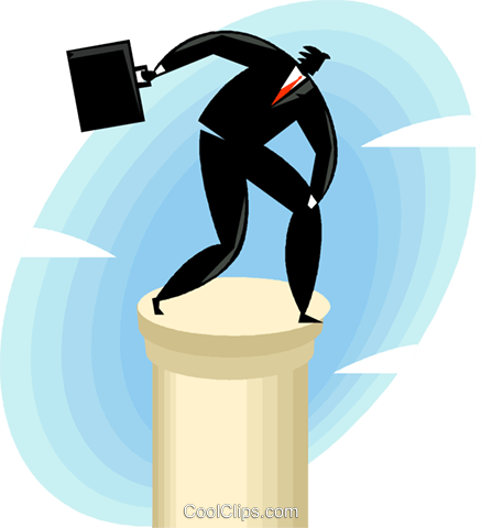 businessman on top of a column Royalty Free Vector Clip Art illustration vc049467