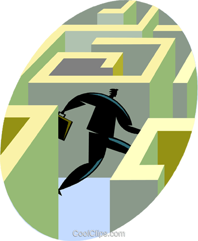 businessman running through a maze Royalty Free Vector Clip Art illustration vc049476