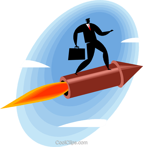 Businessman riding a rocket Royalty Free Vector Clip Art illustration vc049484