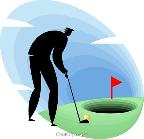 businessman playing golf Royalty Free Vector Clip Art illustration vc049493