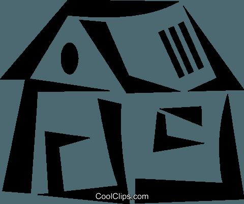 农村住房 免版税矢量剪贴画插图