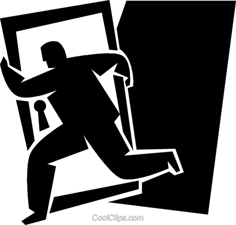 man running away with a door Royalty Free Vector Clip Art illustration vc050338
