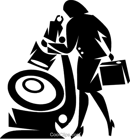 woman looking through a large microscope Royalty Free Vector Clip Art illustration vc050356