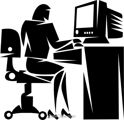 businesswoman working at a computer Royalty Free Vector Clip Art illustration vc050357