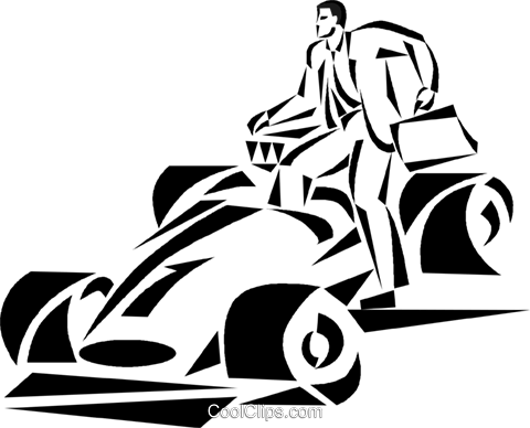 Businessman Climbing Into A Race Car Royalty Free Vector Clip Art
