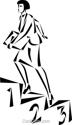 businesswoman walking up the podium Royalty Free Vector Clip Art illustration vc050406