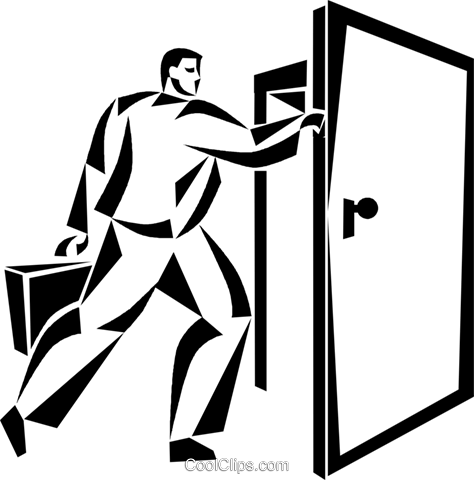 businessman walking through a door Royalty Free Vector Clip Art illustration vc050478