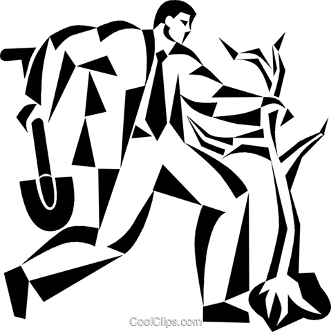 businessman planting a wall Royalty Free Vector Clip Art illustration vc050505