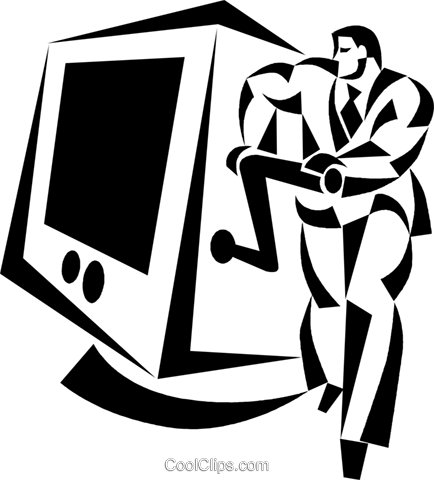 businessman cranking a computer Royalty Free Vector Clip Art illustration vc050514