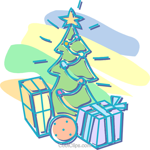 Christmas tree with presents Royalty Free Vector Clip Art illustration vc052661