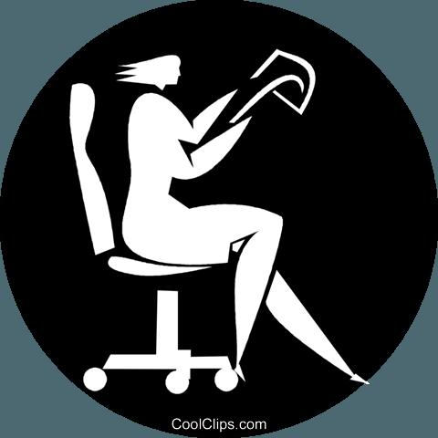 gesch ftsfrau in einem stuhl sitzen vektor clipart bild. Black Bedroom Furniture Sets. Home Design Ideas