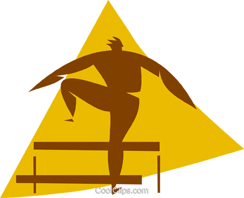 running the hurdles Royalty Free Vector Clip Art illustration vc056697
