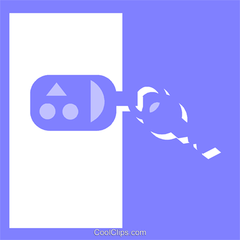 keys on a key chain Royalty Free Vector Clip Art illustration vc057172