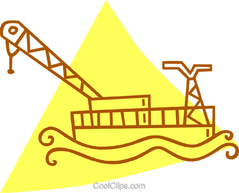 shipping crane on the water Royalty Free Vector Clip Art illustration vc059818