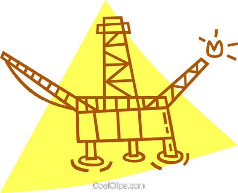 off shore oil well Royalty Free Vector Clip Art illustration vc059819