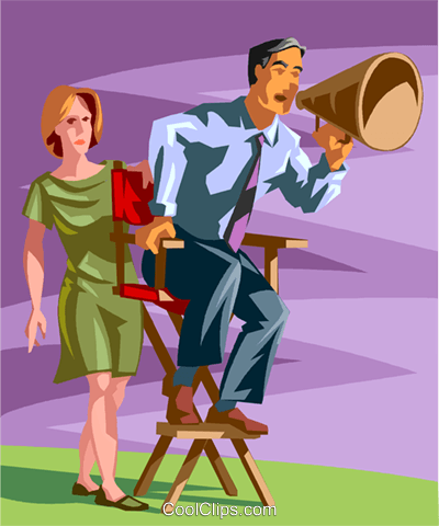 man in director chair with megaphone Royalty Free Vector Clip Art illustration vc059908