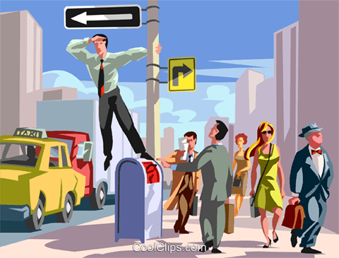 Businessman standing on a mailbox Royalty Free Vector Clip Art illustration vc059910