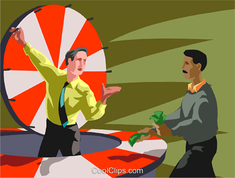 person gambling on the spinning wheel Royalty Free Vector Clip Art illustration vc059911