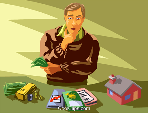 man pondering his investment options Royalty Free Vector Clip Art illustration vc059912
