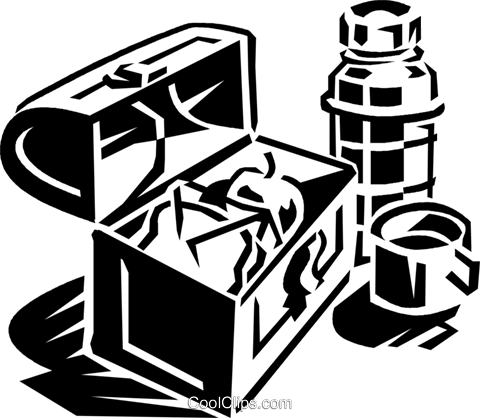 lunch box with thermos Royalty Free Vector Clip Art illustration vc059919
