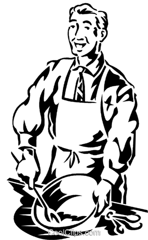 businessman cooking Royalty Free Vector Clip Art illustration vc059920