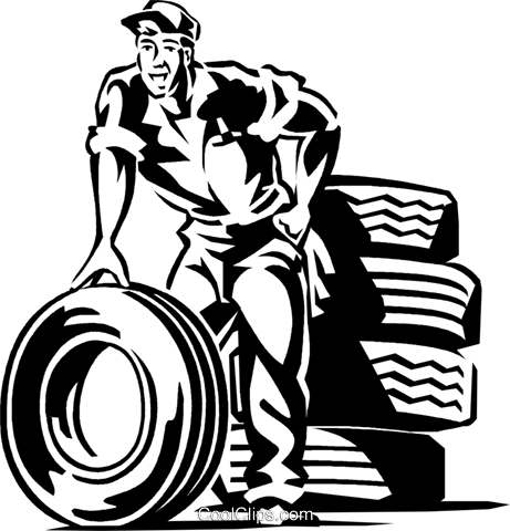Auto mechanic with tires Royalty Free Vector Clip Art illustration vc059928