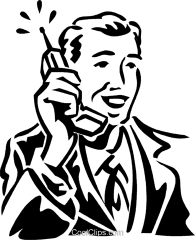 man talking on the phone Royalty Free Vector Clip Art illustration vc059939