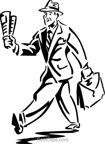 man walking with a newspaper Royalty Free Vector Clip Art illustration vc059943