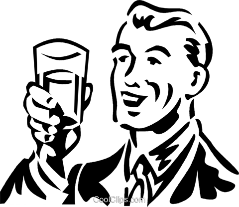man holding a glass Royalty Free Vector Clip Art illustration vc059944