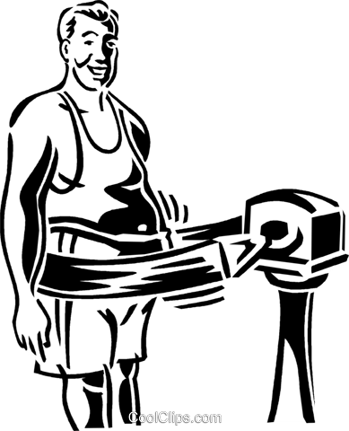 man with exercising machine Royalty Free Vector Clip Art illustration vc059946