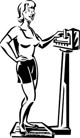 woman standing on a scale Royalty Free Vector Clip Art illustration vc059947